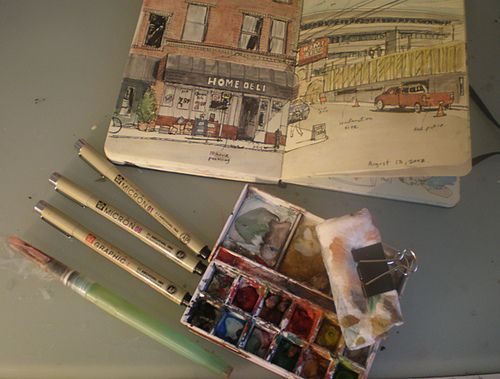 Urban Sketching Kit by Gabi Campanario    • Micron pens: 1, 08 and 01  • Niji waterbrush  • Windsor & Newton small box with gouache paints  • A clip with a folded paper towel  • Moleskine sketchbook