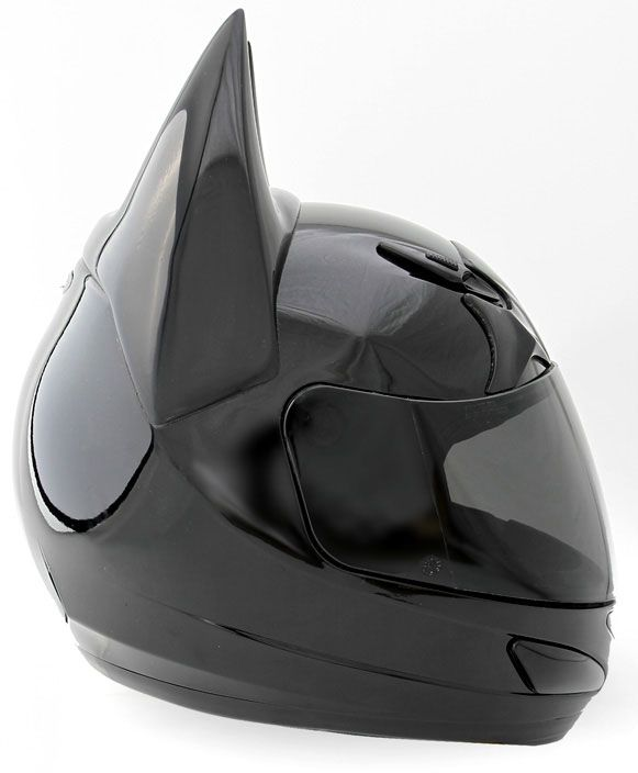 Black Batman motorcycle helmet. So who's going to try to steal Batman's wheels,if you have this skid lid chained to your bike in the parking lot?
