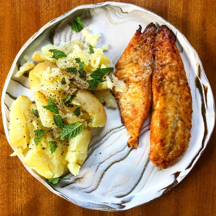 Lucky Taco Chilli Salt pan fried fish with smashed new potatoes with mint, salt & butter.