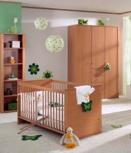 Brown And Wood Baby Nursery Furniture Set Image