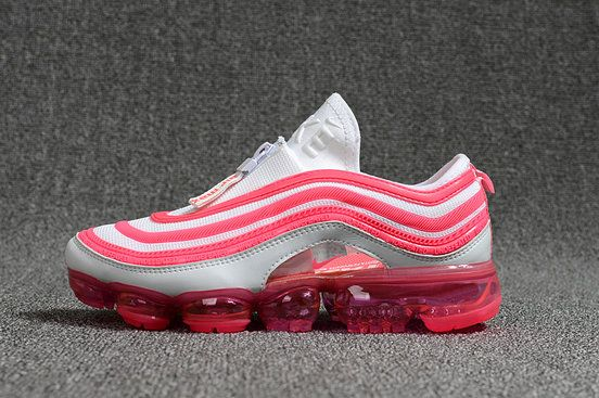 21736b7cd4 2018 Factory Authentic New 2018 Nike Air Max 97 VaporMax KPU Zipper white  pink Sneaker