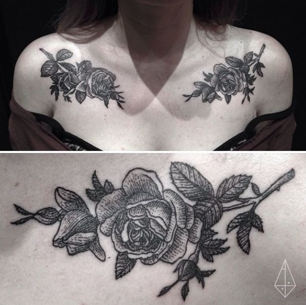 Rose chest tattoo shoulder floral flower  peoney branch bud
