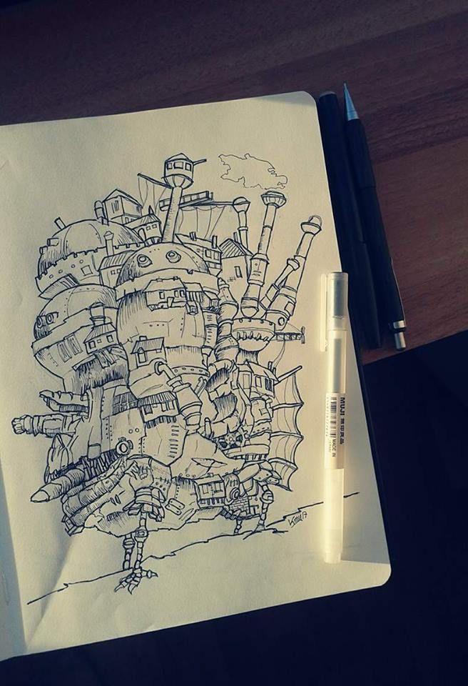 Ilustración, vista lateral oeste. Howl no Ugoku Shiro / ハウルの動く城 / El castillo ambulante -Studios Ghibli- (camiconcas /arq_cfcc)