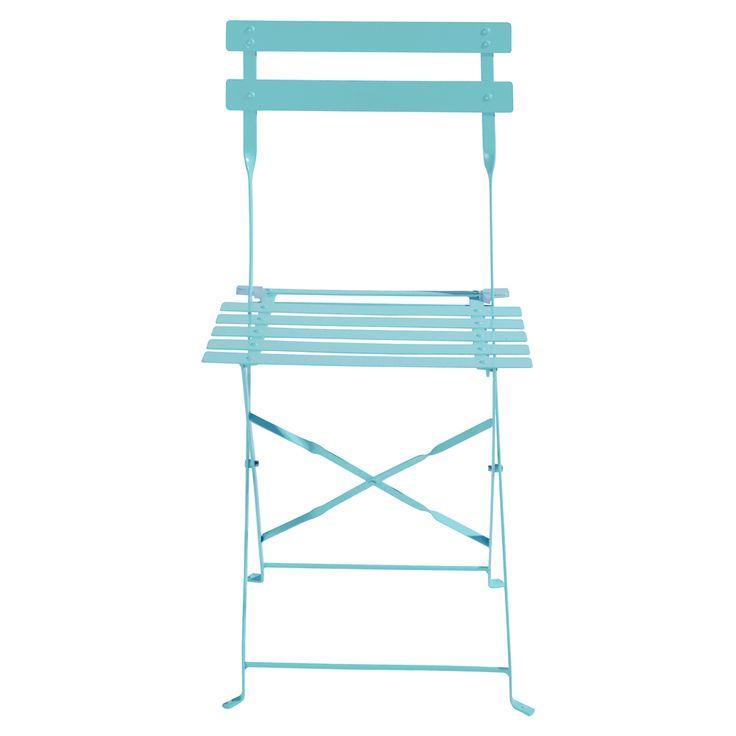 2 chaises pliantes de jardin en métal turquoise Confetti