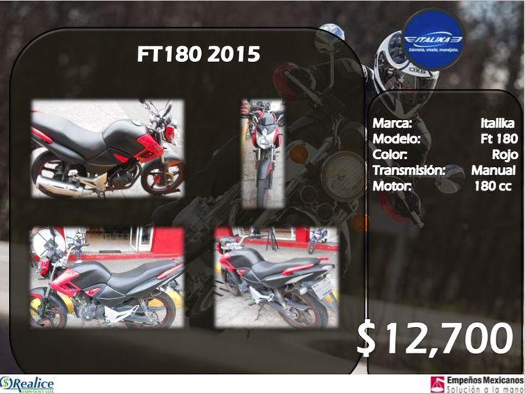 FT180 2015 Marca: Italika Modelo: Ft 180 Color: Rojo Transmisión: Manual Motor: 180 cc $12,700