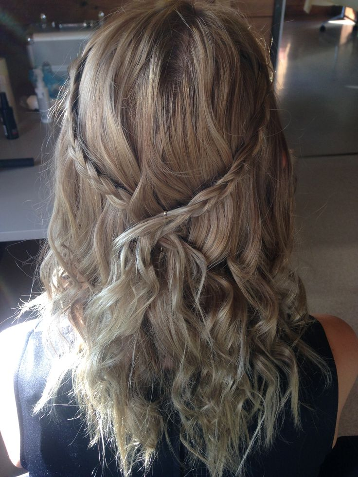 Braided Halo with Loose Curls