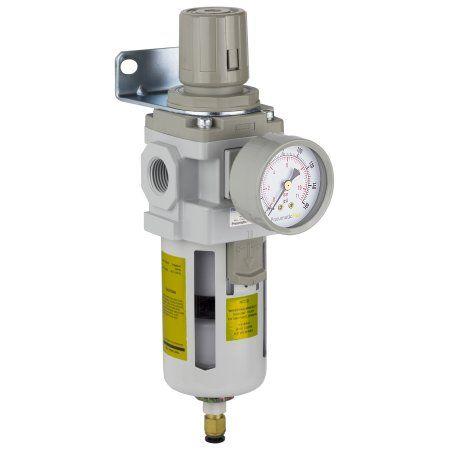 PneumaticPlus SAW400-N04BDG Compressed Air Filter Regulator Piggyback Combo 1/2 inch NPT - Poly Bowl, Auto Drain, Bracket, Gauge