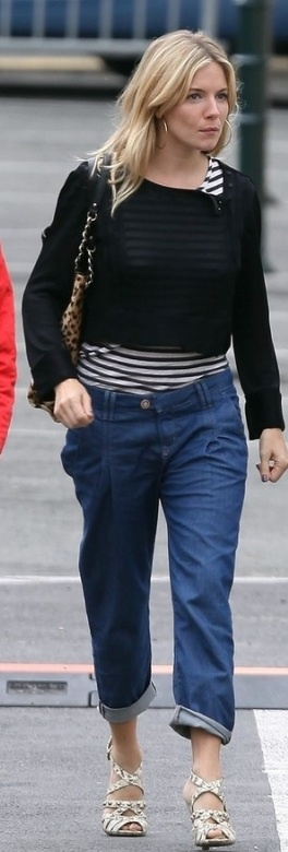 Who made Sienna Miller's leopard purse and striped shirt that she wore in France on October 7, 2010?