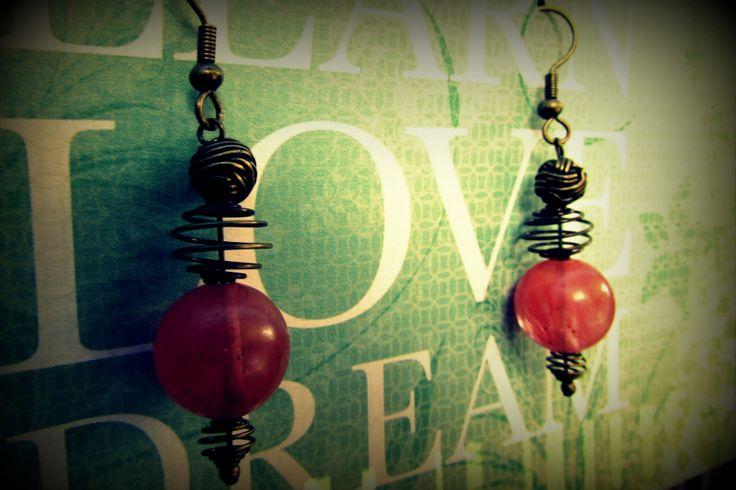 Gorgeous Stone Earrings with Brass www.madeit.com.au/MadeByKasame