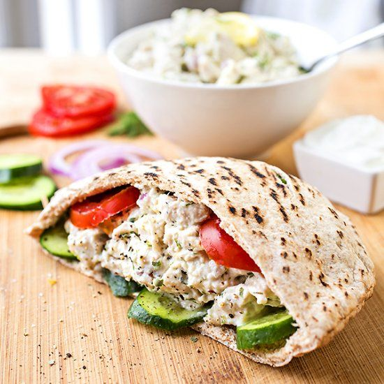 Lemon Chicken Salad—deliciously bright, and made with Greek yogurt instead of mayo!