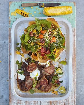 jerk pork, grilled corn  crunchy tortilla salad