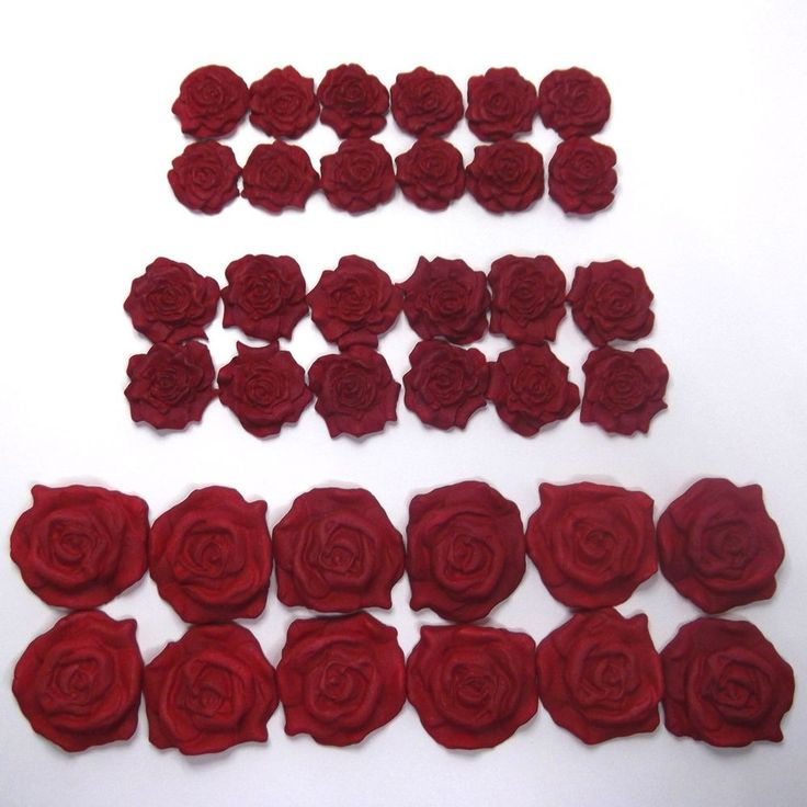 36 Red Pearl Roses Collection edible ruby wedding cake decorations sugar flowers