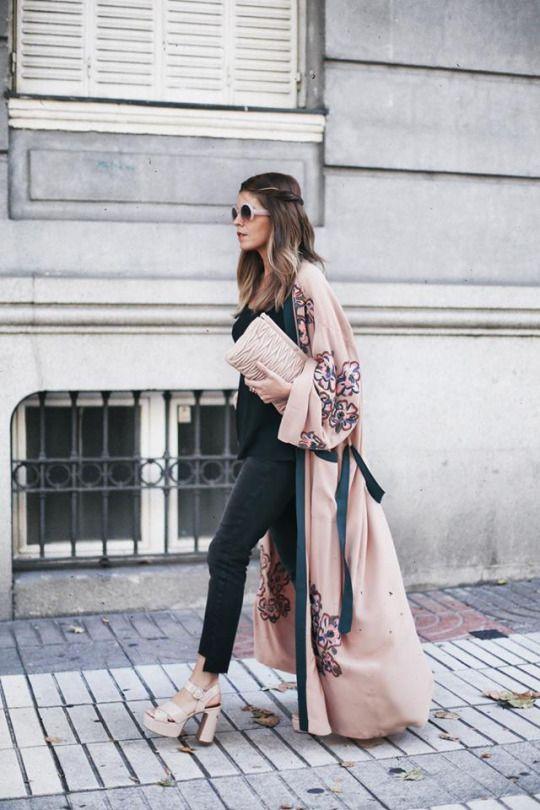 Long kimono summer outfit ideas 44