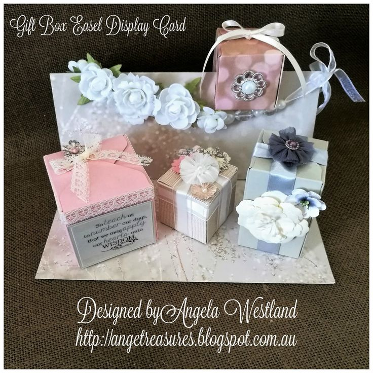 Click on the picture to see more of Angela's Projects #giftboxeaseldisplaycard #giftboxes #offthepage #wordartwednesday #guestdesignermarch #fallinginlovedsp #flowers #organzaribbon #scripture