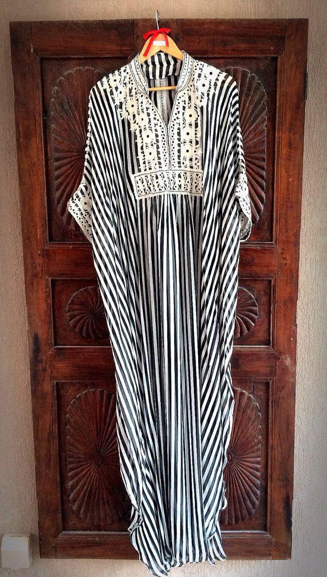 Silk striped caftan long maxi dress
