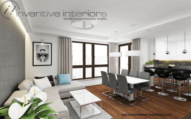 Projekt salonu Inventive Interiors - beż i szarość w salonie