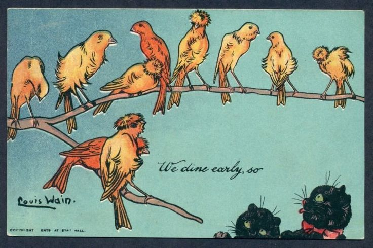 P7919 Louis Wain postcard, Cats, Birds, We dine early