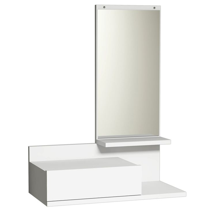 Wall console Mode Coat with white mirror 30x60x80