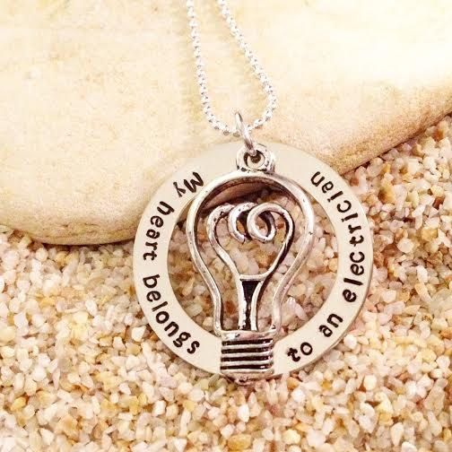 Hand Stamped  Jewelry  Necklace  Electrician  Gift by KKandWhimsy