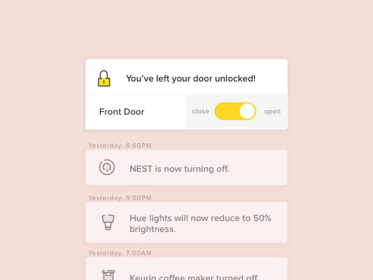 In-app notifications for smart home remote app