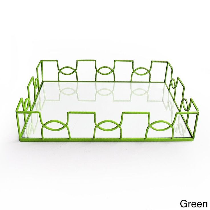 American Atelier Curved Metal and Glass Tray (Green)