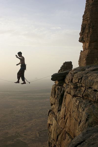 I learned to slackline today. This seems like the logical next step.