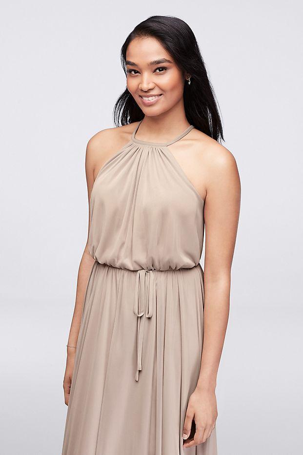 a5f602e4f2 Soft Mesh Halter Bridesmaid Dress with Slim Sash Style F19533 ...