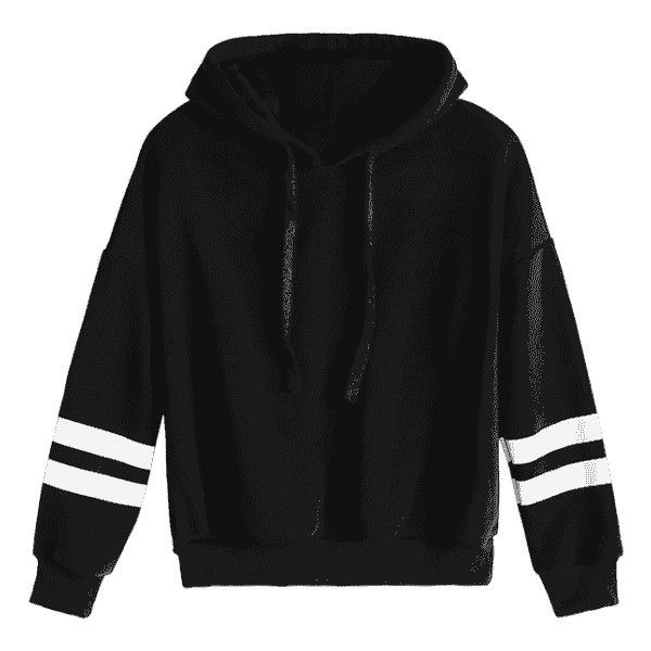 Drop Shoulder Striped Drawstring Hoodie Black ($22) ❤ liked on Polyvore featuring tops, hoodies, hooded sweatshirt, striped hoodie, stripe hoodie, hoodie top and drawstring top