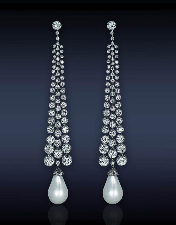 Pearl Diamond Drop Earrings