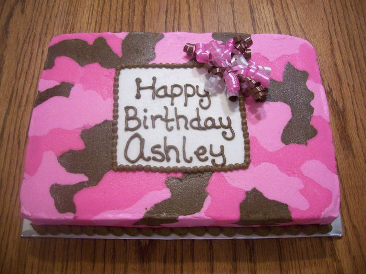 Pink and Brown Camo - All buttercream...... 9X13, white cake.  TFL