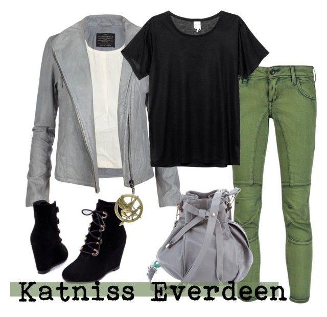 """Katniss Everdeen"" by unarmariodecine ❤ liked on Polyvore featuring AllSaints, !iTEM, Monki, Pauric Sweeney, Hot Topic, katniss everdeen, jennifer lawrence, the hunger games, the girl on fire and los juegos del hambre"