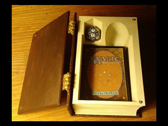 3D Printed Magic The Gathering Deck Box. Store your MTG Cards and game pieces Approx Size: 5.5x4x2 Delivered in Black or White Book Cover with White pages. With 3D printing each item is literally printed layer by layer. This process gives this item the unique 3D printed