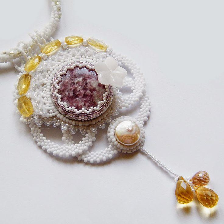 www.polandhandmade.pl  #polandhandmade #beading #beadwork #beadweaving #beadedembroidery #pearl #pearlnecklace #lepidolite #weddingnecklace #citrine #forbride #webbing #agate #agateflower #carvedflower #pastelnecklace #pastel #pasteljewelry #lacejewelry #bridaljewelry #bridallace #lacejewelry #beadedcabochon