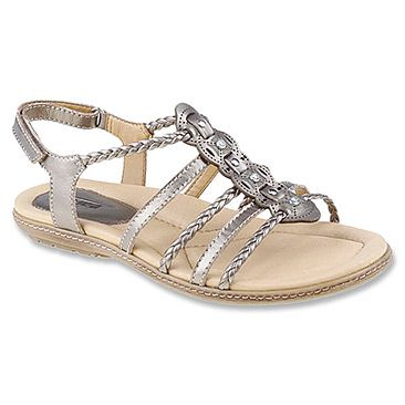 Petite leather straps and jewel-like ornamentation lend a handcrafted feel  to this exceptionally versatile sandal.