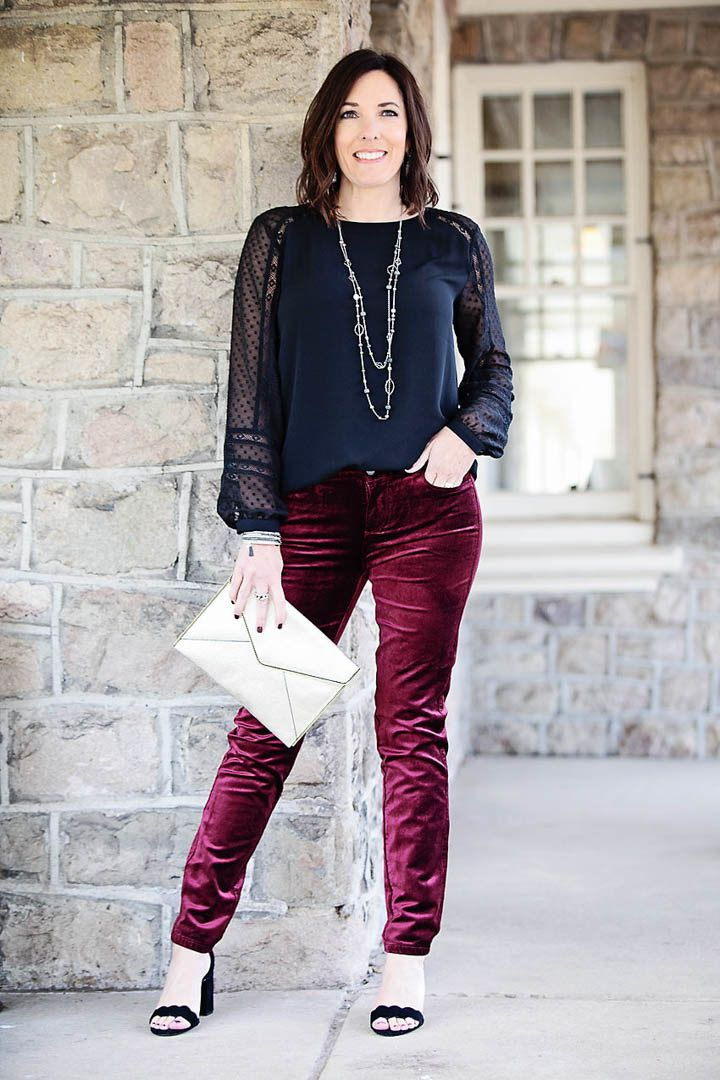1a8d0ed5ad Holiday Party Velvet Jeans Outfit  Paige Verdugo velvet skinny pants