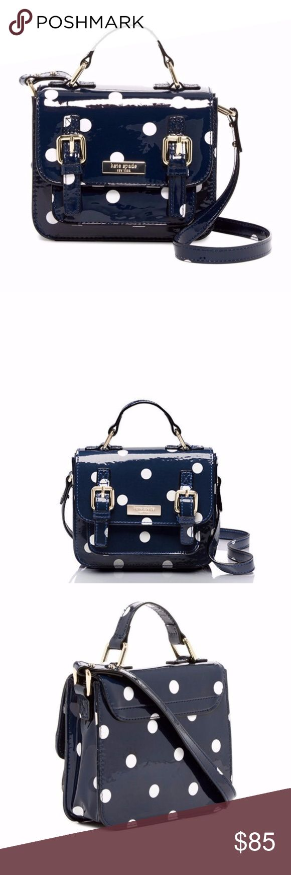 "Kate Spade New York Scout Mini Satchel New With Tags, 100% Authentic, Guaranteed! !! Adorable !! Kate Spade New York Scout Satchel Women's? Kids'? (Girls) Crossbody in Navy Polka Dot Color  Extra-mini, extra-charming. The kate spade new york childrenswear collection is just right for twirling, tumbling and everything in between.  5""h x 1.75""w x 6.5""l drop length: 35"" adjustable strap  14-karat light gold plated hardware  Crossbody bag with adjustable strap and magnetic snap closure interior…"