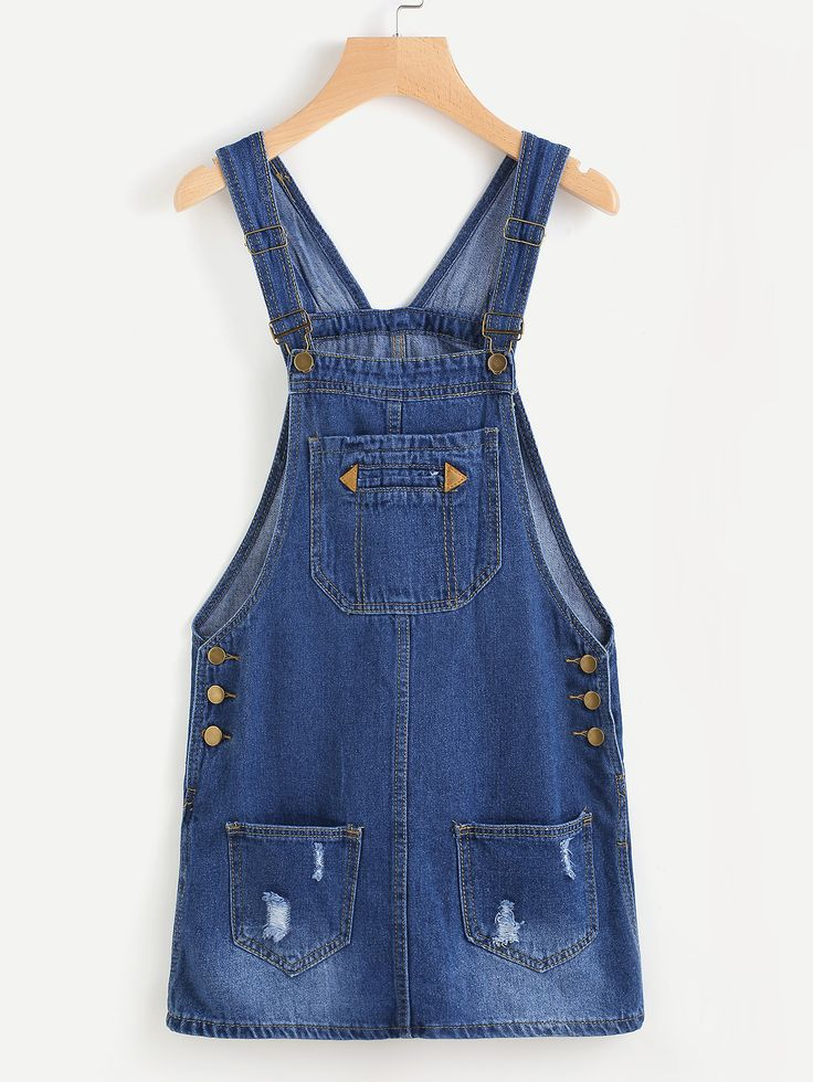 Shop Ripped Denim Overall Dress With Pockets online. SheIn offers Ripped Denim Overall Dress With Pockets & more to fit your fashionable needs.