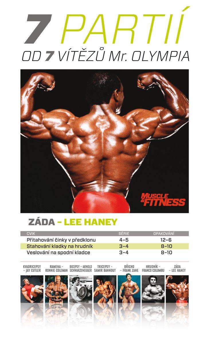7 partií od 7 víťazov Mr. Olympia - Lee Haney vynikal aj chrbtovým svalstvom.