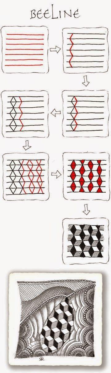 Zentangle, rustgevend tekenen: basis patronen vierkant 1