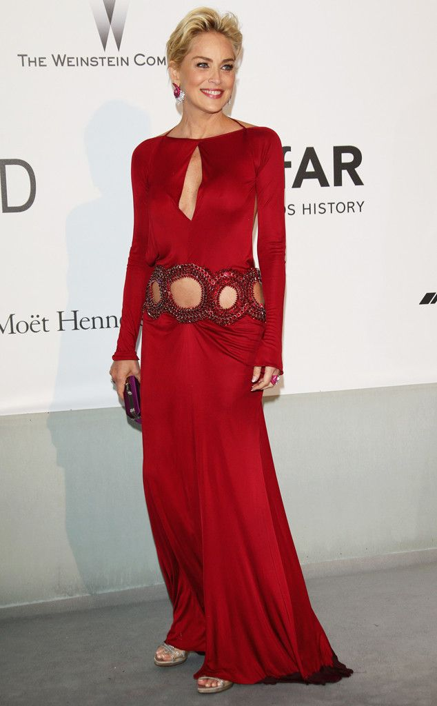 Sharon Stone from amfAR Gala 2014: Red Carpet Arrivals | E! Online
