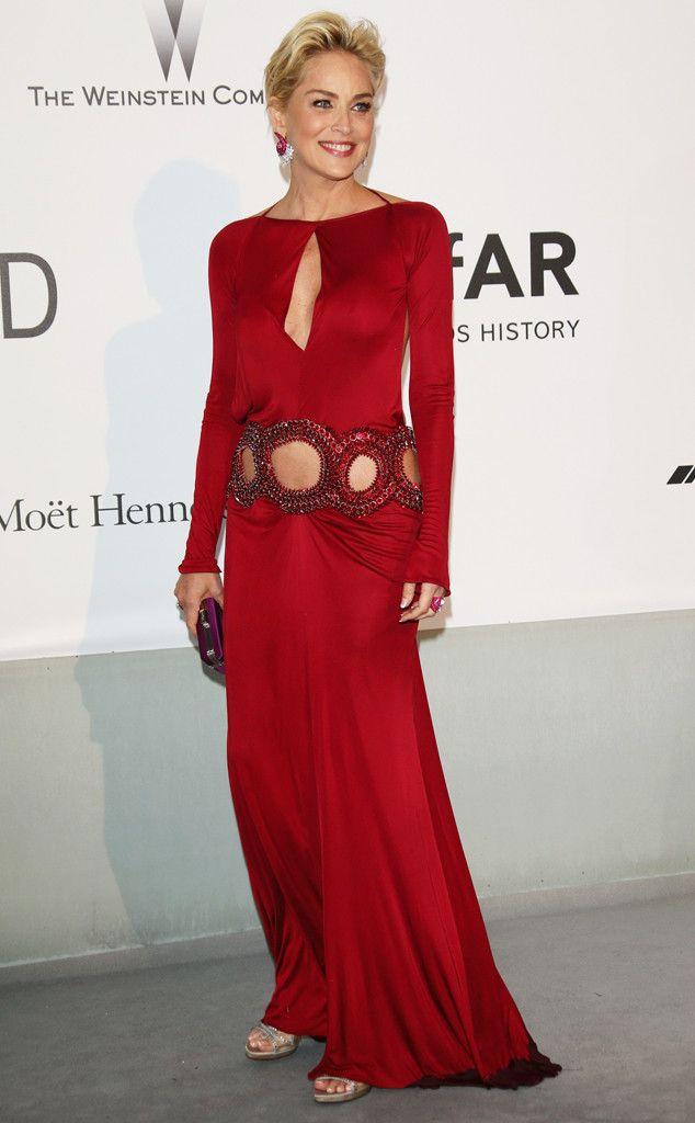 Sharon Stone from amfAR Gala 2014: Red Carpet Arrivals | E! Online