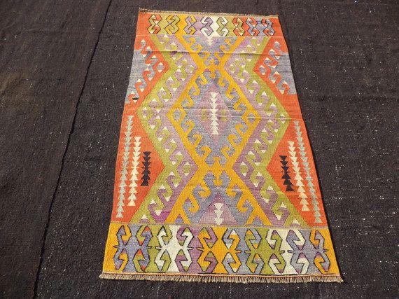 """Flatweave Woven Small Turkish Kilim Rug,3""""x5,3"""" Feet 92x160 Cm Vintage Handmade Turkish Kilim Rug,Area Kilim Rug."""