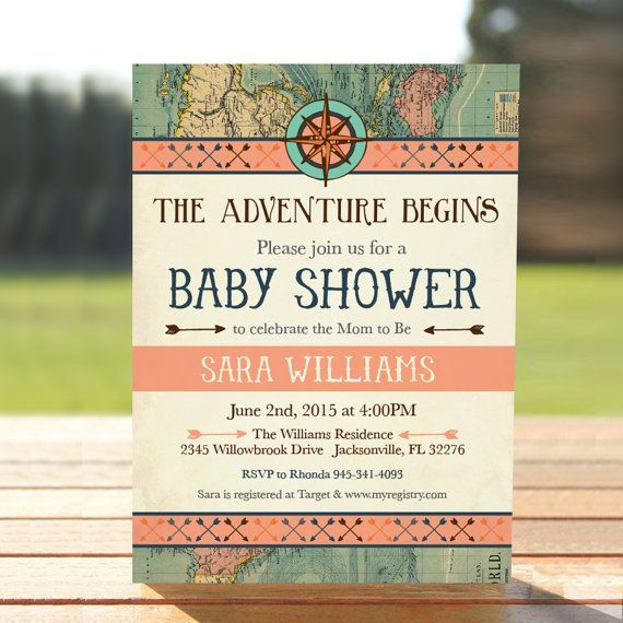 Check out Vintage Map  Baby Shower Invitation - Coral Adventure Baby Shower Invite -  Digital Download - Printable