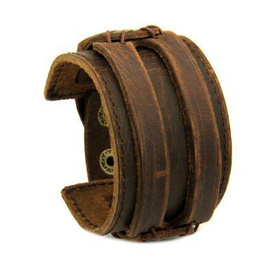 BAMOER кожаные манжеты двойной широкий браслет и веревка коричневый для мужчин мода ювелирные изделия на Алиэкспресс русском языке рублях