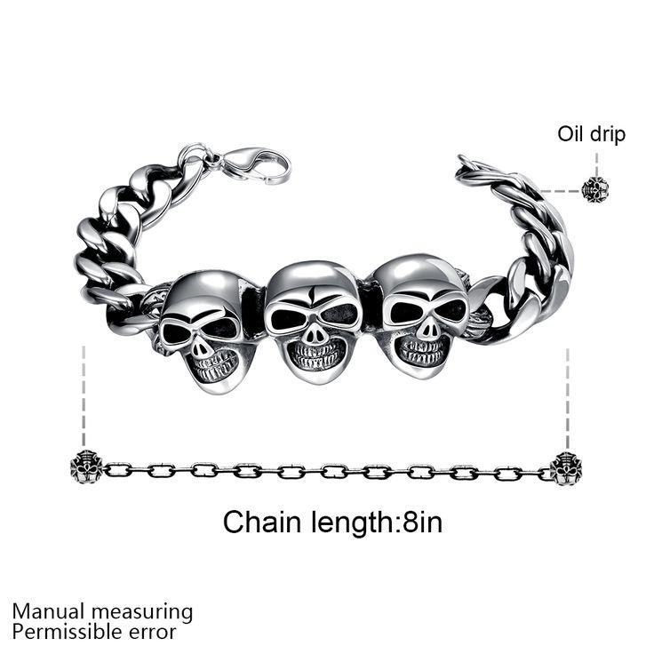Широкие браслеты черепа подвески H032 Моды 316L браслет из нержавеющей стали для человекакупить в магазине Rose Fashion Jewelry CO., LTD.наAliExpress