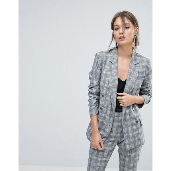 Oasis Double Breasted Check Blazer ($105) ❤ liked on Polyvore featuring outerwear, jackets, blazers, multi, 1980s jackets, tailored jacket, 80s jackets, checked jacket and checkered blazer