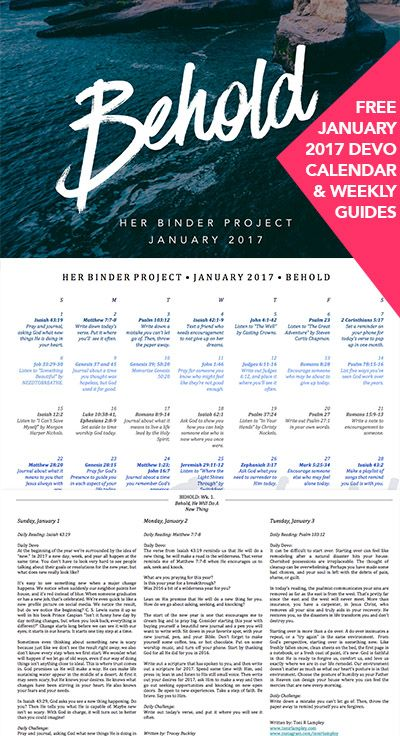 Free January 2017 Devotional - Calendar, Weekly Guides, Her Binder Project, Bible Study, Small Group Idea, Printable, PDF, Free Download, Book, Books, Ebook, Ebooks, Encouragement, Motivational, Inspiration, Inspirational