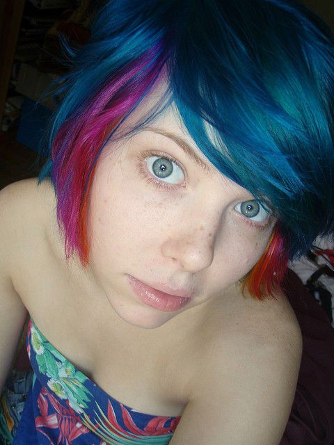 Blue Pink And Orange Hair Flickr Photo Sharing Blue Hair Blue Eyes Pink Hair