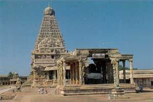 The grandest creation of the Chola emperor Rajaraja (985-1012 CE) is at Thanjavur.