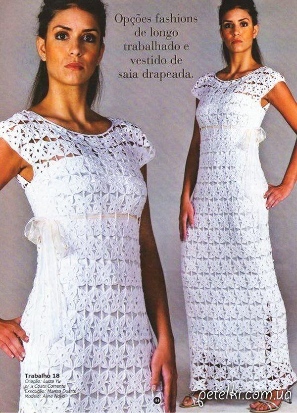 Свадебное платье из мотивов крючком. Схема, выкройка
